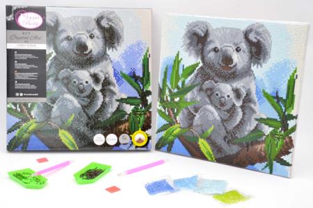 Kit tableau broderie diamant Koala - 30 x 30 cm - Broderie Diamant – 10doigts.fr