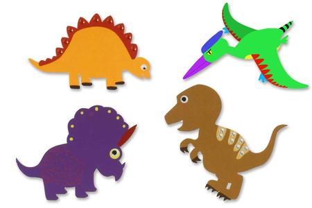 Silhouettes Dinosaures - 16 formes - Supports blancs – 10doigts.fr