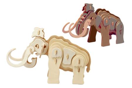 Mammouth 3D en bois naturel à monter - Maquettes en bois – 10doigts.fr