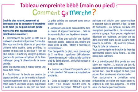 Tableau empreinte main ou pied de bébé - Baptêmes, mariages – 10doigts.fr