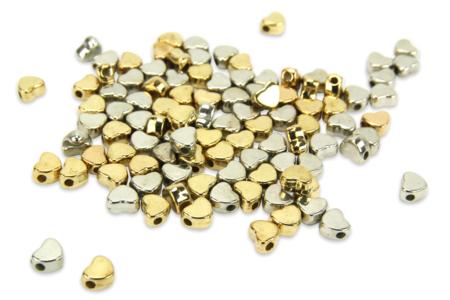 Perles intercalaires cœur or et argent - 100 perles - Perles intercalaires – 10doigts.fr
