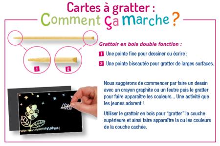 Set de 5 cartes à gratter face noire fond arc en ciel holographique + 5 grattoirs  - Cartes à gratter, cartes à sabler – 10doigts.fr