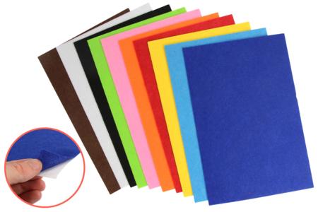 Feutrine adhésive 20 x 30 cm - 10 couleurs assorties - Feutrine, feutre, toile de jute – 10doigts.fr