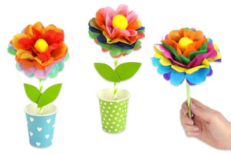 Kit création de fleurs en papier de soie - 12 réalisations - Kits activités clés en main – 10doigts.fr