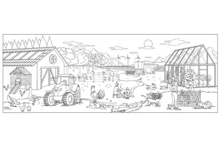 Fresque géante à colorier - La ferme - Supports pré-dessinés – 10doigts.fr