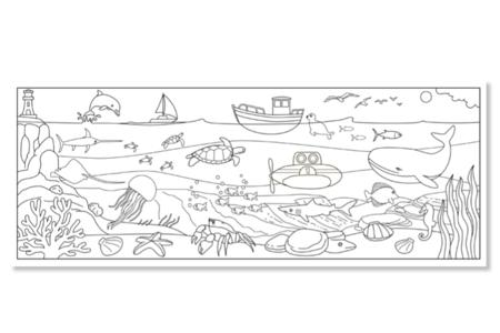 Fresque géante à colorier - La mer - Fresques de coloriage – 10doigts.fr