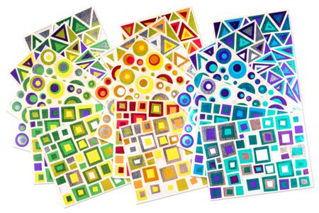 Gommettes art abstrait - 18 planches - Toutes les gommettes géométriques – 10doigts.fr