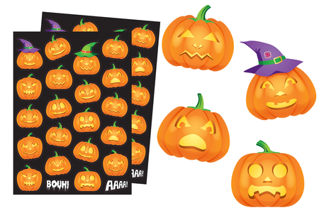 Gommettes Halloween citrouilles - Set de 44 gommettes - Gommettes Halloween – 10doigts.fr