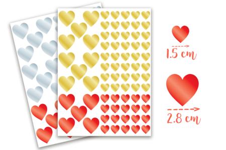 Gommettes coeurs métallisés -  2 planches - Stickers, gommettes coeurs – 10doigts.fr