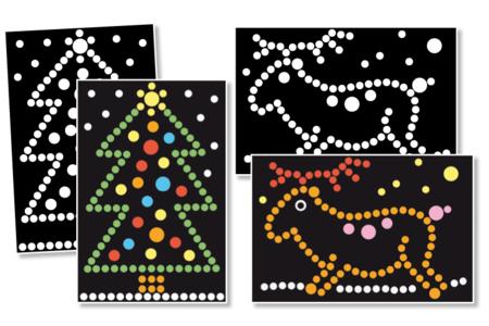 """Tableaux Gomettes """"Noël""""- 4 cartes - Kits d'activités Noël – 10doigts.fr"""
