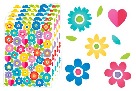 Gommettes Fleurs et coeurs - 320 gommettes - Gommettes Saisons – 10doigts.fr