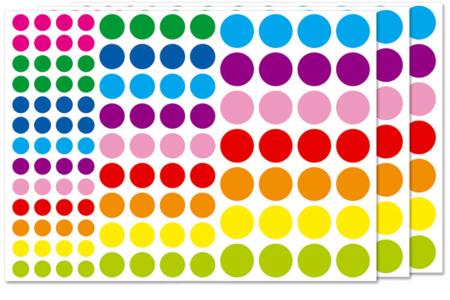 Gommettes rondes vives - 3 planches - Toutes les gommettes géométriques – 10doigts.fr