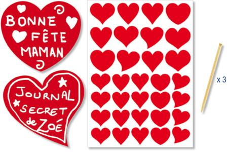 Stickers coeurs rouges à gratter - 32 pcs - Cartes à gratter – 10doigts.fr