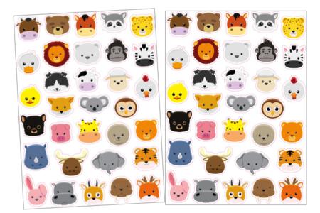Gommettes têtes d'animaux - 2 planches - Gommettes Animaux – 10doigts.fr