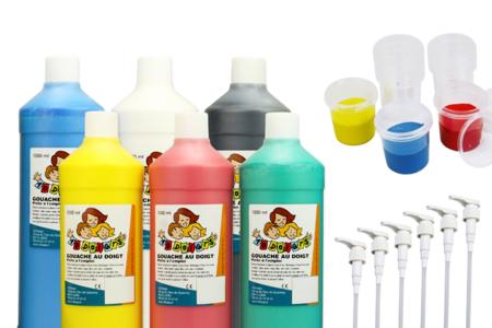 Kit activité Gouache aux doigts - 6 litres + accessoires - Peinture gouache aux doigts – 10doigts.fr