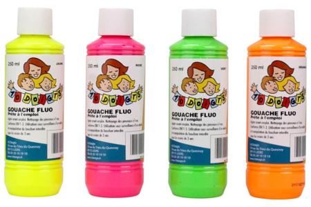 Gouache fluo 10 DOIGTS - 4 flacons de 250 ml - Peinture Gouache 10 DOIGTS – 10doigts.fr