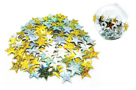 Grandes paillettes étoiles holographiques or et argent - Set de 140 paillettes - Paillettes fantaisie – 10doigts.fr