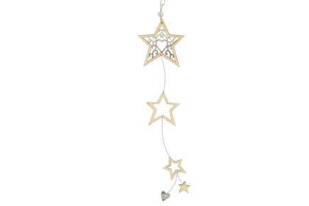 Suspension étoiles en bois ciselé - Décorations de Noël en bois – 10doigts.fr