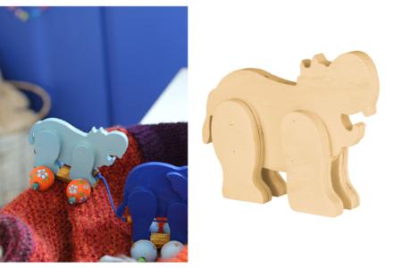 Hippopotame en bois naturel - Animaux 3D – 10doigts.fr