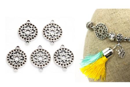 Intercalaires ronds argentés - Lot de 5 - Perles intercalaires – 10doigts.fr