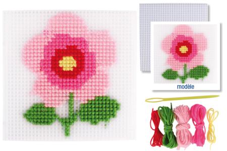 Kit canevas Fleur - Canevas, point noué – 10doigts.fr