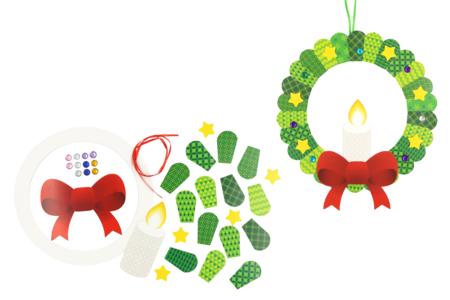 Kit couronne bougie de Noël en carte forte - Kits activités Noël – 10doigts.fr