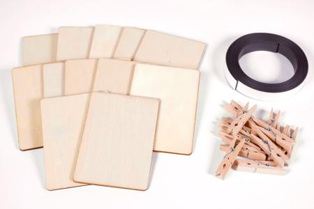 Magnets en bois - kit pour 12 réalisations - Kits activités sur bois – 10doigts.fr