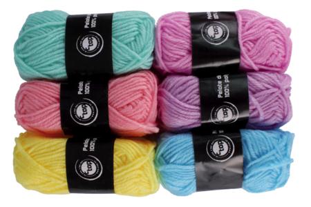 Pelotes de laine polyester, couleurs pastel - Set de 6 - Laine – 10doigts.fr