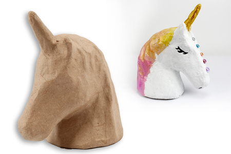 Trophée licorne en papier mâché 18,5 cm - Animaux en papier mâché – 10doigts.fr