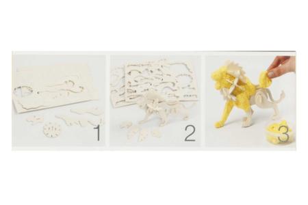 Lion 3D en bois naturel à monter - Maquettes en bois – 10doigts.fr