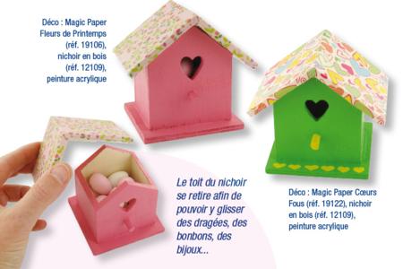 Boite nichoir, décoration peinture et tissu adhésif - Baptêmes, mariages – 10doigts.fr