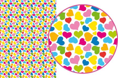 Magic Paper auto-adhésif Coeurs multicolores - Washi paper / Magic paper – 10doigts.fr