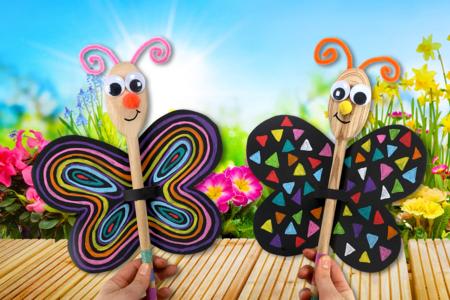 Marionnette papillon avec une cuillère en bois - Activités enfantines – 10doigts.fr