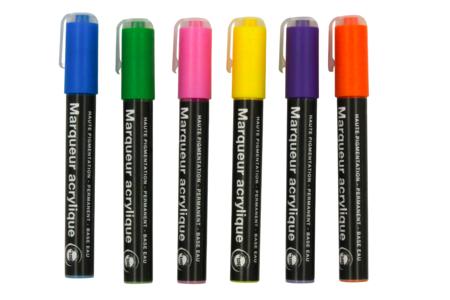 Marqueurs peinture acrylique - 6 couleurs - Marqueurs peintures – 10doigts.fr