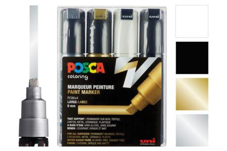 Marqueurs POSCA - Or, Argent, Noir, Blanc - Acrylique Métallisée – 10doigts.fr