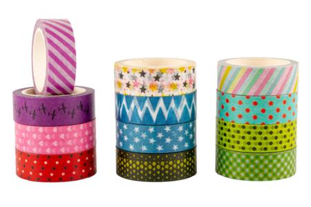 Masking tape à motifs - 12 rouleaux - Adhésifs colorés et Masking tape – 10doigts.fr