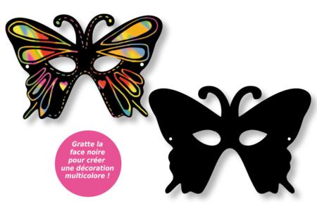 Masques loups vénitiens en carte à gratter + accessoires - 4 pcs - Cartes à gratter – 10doigts.fr