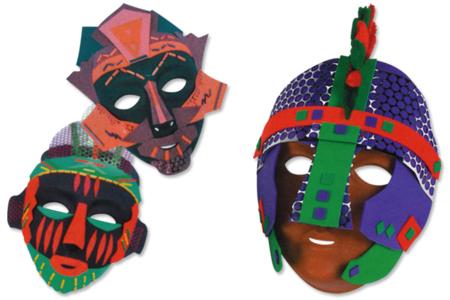 Masques à décorer avec du caoutchouc souple - Carnaval, fêtes, masques – 10doigts.fr