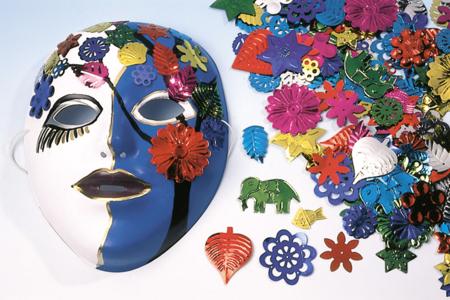 Masques à décorer avec grandes paillettes fantaisie et stylo peinture 3D - Carnaval, fêtes, masques – 10doigts.fr