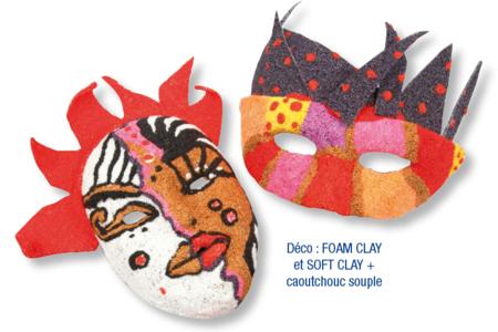 Masque et loup décoré avec de la pâte à modeler Foam Clay - Carnaval, fêtes, masques – 10doigts.fr