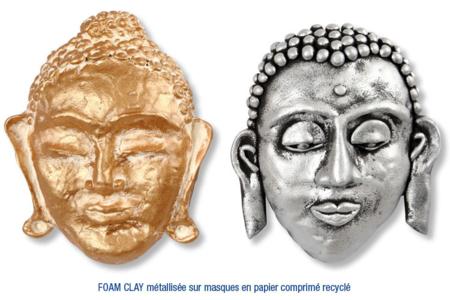 Masques décorés avec de la pâte à modeler FOAM CLAY métallisée or et argent - Carnaval, fêtes, masques – 10doigts.fr