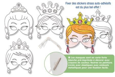 Masques princesses à décorer - Set de 4 - Mardi gras, carnaval – 10doigts.fr
