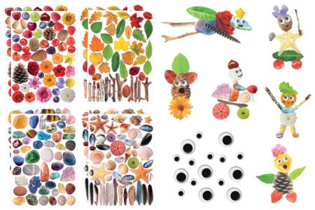 Kit création de personnages en gommettes Nature - Kits activités Nature – 10doigts.fr