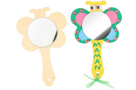 Miroir coeur, fleur ou papillon - Miroirs en bois – 10doigts.fr