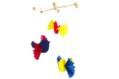 Oiseaux en bois à suspendre - Lot de 6 - Carillons et Mobiles – 10doigts.fr