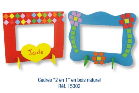 """Cadres rectangulaires """"2 en 1"""", en bois naturel à décorer avec des mosaïques auto-adhésives en caoutchouc souple - Décoration d'objets – 10doigts.fr"""