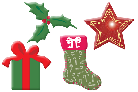 Motifs de Noël en bois décoré - Set de 8 - Motifs peints – 10doigts.fr