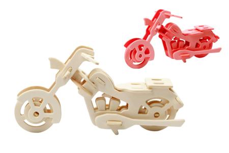 Moto 3D en bois naturel à monter - Maquettes en bois – 10doigts.fr