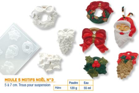 Moule 5 motifs Noël - Moules pour plâtre, savon, béton ... – 10doigts.fr