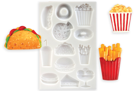 "Moule silicone ""Nourriture"" - 12 motifs - Moules en silicone – 10doigts.fr"